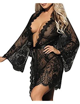 Biancheria Donna,Fittingran Donna Lingerie babydoll biancheria intima Pigiama pizzo pigiama + G-String