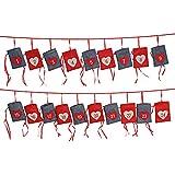 WOMA DIY Adventskalender zum Befüllen in 4 Variationen - Weihnachtskalender selberfüllen & aufhängen mit Stoff Säckchen - Ausgefallenes Geschenk für Damen, Herren & Kinder - Grau, Rot, Weiß