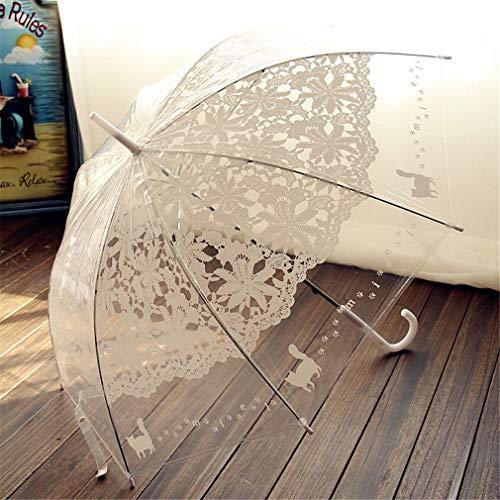 1 StÜCke Romantische Nachahmung Spitze Transparent Nette Katze GroßE Lange Regen Wind Regenschirm FüR Lolita Frauen Reisen White