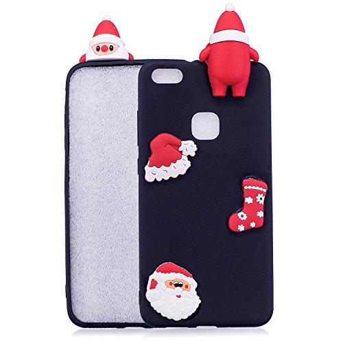SevenPanda Huawei P10 Lite Handyhülle, 3D Weihnachten Weihnachtsmütze/Weihnachtssocke/Weihnachtsmann Muster TPU Soft Haut Hülle für Hua wei P10 Lite 5.2