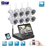 SW 8 Kanal 720P HD Wireless NVR Überwachungskamera -System mit 8 x 720P HD Outdoor Wireless IP-Netzwerk-Videoüberwachungskameras 1 TB Festplatte (Wireless NVR integrierten Router mit 10,1