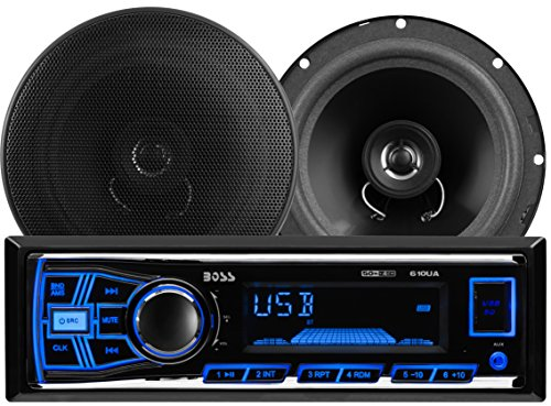 BOSS AUDIO 636CK Audiopaket mit 610UA Single-DIN AM/FM/MP3/USB/SD Player Autoradio 200 Watt und ein Paar CK65 6.5