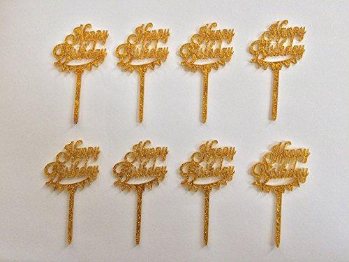 Sugar and Cakes 8 Stk. Cake Topper Cupcake Deko Happy Birthday Tortenaufsatz Geburtstag Tortenstecker Muffin Fondant Dekoration Acryl Gold CT1