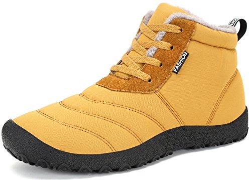 SAGUARO® Herren Damen Winterschuhe Warm Gefüttert Winter Stiefel Kurz Schnür Boots Schneestiefel Outdoor Freizeit Schuhe,Gelb 38