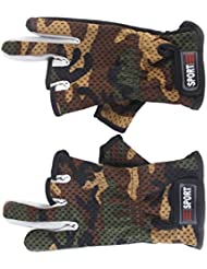 Liroyal Anti Slip Fishing Gloves Low Cut Fingers 1 Pair Camouflage