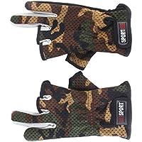 Doyeemei Anti Slip Fishing Gloves Low Cut Fingers 1 Pair