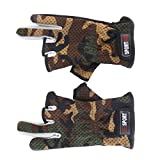 Anti Slip Fishing Gloves Low Cut Fingers 1 Pair Camouflage