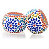 Merarki Home Decorative Glass Tea Light Candle Holders With Mosaic Design For Festival Celebration (Diya For Diwali) - Pack Of Two