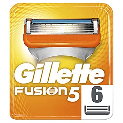 Gillette Fusion5 Razor Blades for Men with 5 Anti-Friction Blades for A Shave You Barely Feel, 6 Refills (Packaging May Vary)