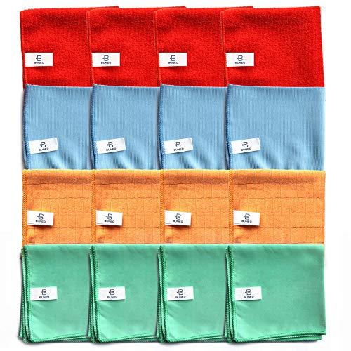 Fun & Life Microfasertücher (16 Stück) by BUNEO | 4 x grün (Glas/Flächen) + 4 x blau (Böden) + 4 x orange (Küche/Bad) + 4 x rot (Allzweck), jeweils 30 x 30 cm