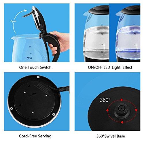 confronta il prezzo Aigostar Adam 30GOM - Bollitore d'acqua in vetro borosilicato con illuminazione a LED. 2200W, 1.7L e Color Nero. Protezione Boil-dry. BPA FREE. Design Esclusivo. miglior prezzo