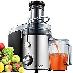 Centrifugeuse Extracteur de Jus, Aicok 800W Centrifugeuse Fruits et Legumes avec 75MM Large Bouche, Extracteur de Jus à Deux Vitesses, Sans BPA, en Acier Inoxydable de Qualité Alimentaire