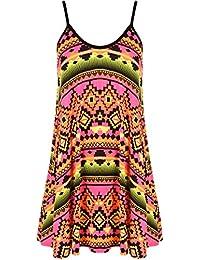 WearAll - Grande taille imprimé mini-robe débardeur top - Robes - Femmes - Tailles 44 à 54