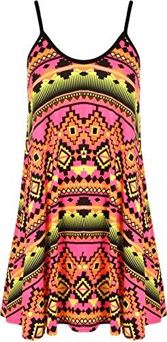 WearAll - Grande taille imprimé mini-robe débardeur top - Robes - Femmes - Tailles 44 à 54 Rose Aztec