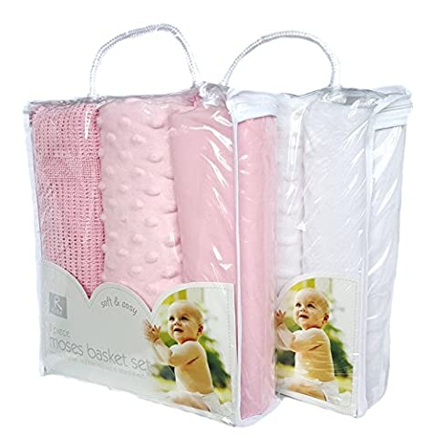 Set of 2 packs Moses baby Bedding set - Blue and White - OR - Pink and White (Pink&White)