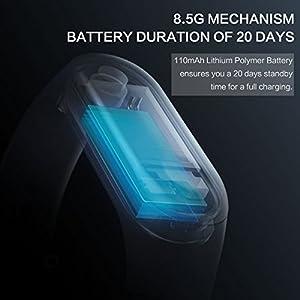 Xiaomi Mi Band 3, Pulsera de Activedad 3 Fitness Smartband con Pantalla Táctil OLED, Recordatorio de Mensajes y Llamada, Impermeabilidad a 5 ATM y Duración de Batería hasta 20 Días, Negro