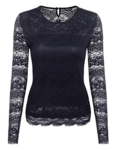 Zeagoo Damen Sommer Spitzenshirt Lace Top Business Langarmshirt Elegant  Rundhals Oberteile, Dunkelblau, EU 40  L 7f88f2293e