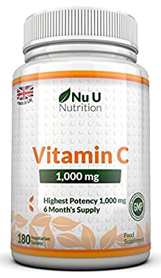 Vitamin C 1000mg 180 Tablets (6 Month's Supply) by Nu U Nutrition by Nu U Nutrition