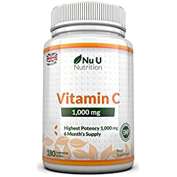 Vitamina C - 1000 mg - 180 Comprimidos (Suministro para 6 Meses) - Complemento alimenticio de Nu U Nutrition