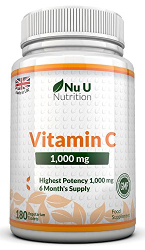Vitamin C 1000mg 180 Tablets (6 Month's Supply) by Nu U Nutrition Test