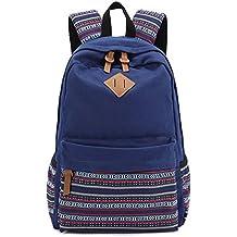 Evay zaino tela Vintage striscia colorata sacchetto di scuola per i giovani adolescenti ragazze e ragazzi leggero Carino impermeabile Daypack casual Contiene 14 Inch Laptop scuola a tracolla zaino blu
