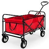 Chariot de jardin charrette à main rouge - Pliable - Chariot transport bricolage