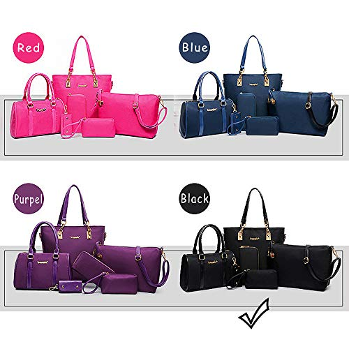 KAIDILA Handtaschen für Frauen zu patentieren, Elegante Litschi Muster Nylon Material Damen Schultertasche Tasche 6 Stück Casual Mode & Arbeit, Lila, Blau, Schwarz und Rot