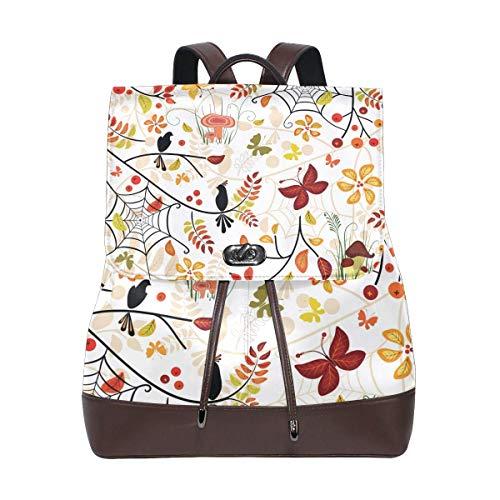 Floral Purse Bag (Flyup Women Leather Autumn Floral Pattern Backpack Purse Travel Schoolbag Shoulder Bag Casual Daypack Damen Leder Rucksack)