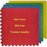 ProBaby Fitness, Puzzle, Exercise Mat, EVA Foam Interlocking Tiles, Protective Flooring for Gym Equipment and Cushion for Workouts, Multi-Purpose Double-Sided Activity Mat/Play Mat with Interlocking Tiles Mat (4pcs) - EVA Foam Floor Mat