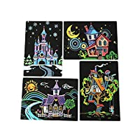 Kid Educational Toy Magic Scratch Art Painting Paper with Drawing Stick 4pcs 20x14cm Kids Toy for Kid Birthday by Kinlene