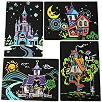 4pcs 20x14cm Magic Scratch Art Painting Paper With Drawing Stick Kids Toy