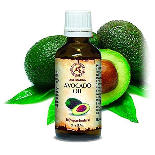 Avocado Öl, kaltgepresst und raffiniert, 100% naturreines und reines 50ml, Avocadoöl, Glasflasche, Basisöl, Südafrika, reich an Retinol, Vitamin E, Körperöl, intensive Pflege für Gesicht