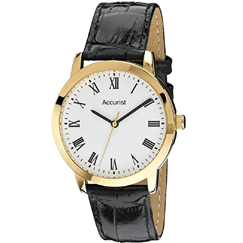 Accurist Men's Quartz Watch with White Dial Analogue Display and Black Leather Strap Ms675Wr