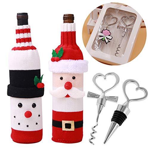 FUNCUBE Weinzubehör Geschenk Set, Wein-Getränke-Stopper und Weinkorkenzieher + Sweater Wine Bottle Covers, lustige Weinflasche Geschenkkorb Dekoration für Holiday Christmas Ornament und Home Party