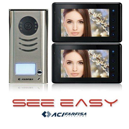 C6C - FARFISA SEE EASY 2 WIRE VIDEO DOOR ENTRY INTERCOM KIT TWO 7'' LCD DISPLAYS