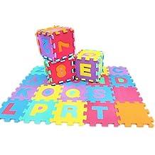 Jessie&Letty Alfombra con puzzle de 36piezas para niños, utilizable como una alfombra, con alfabeto y números
