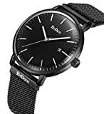 Mens Simple Designer Watches Black Men's Milanese Mesh Strap Luxury Calendar Wrist Watch Stainless Steel Band 30M Waterproof Analogue Quartz Business Casual Watches for Men Black Dial