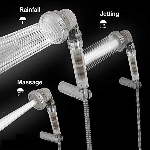 Soffione doccia e tubo flessibile 1,5 m di lunghezza - Soffione ionico con filtro ad alta pressione per doccia e soffione a 3 vie