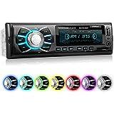 XOMAX XM-RSU262BT Autoradio aucun lecteur CD + Connexion Bluetooth + 7 couleurs d'éclairage (rouge, bleu, vert...) + Port USB (jusqu'à 128 GB) et fente pour cartes SD (jusqu'à 128 GB) pour fichiers MP3 et WMA + Entrée AUX + Dimensions standard DIN simple (1DIN) + Télécommande et tiroir métallique inclus