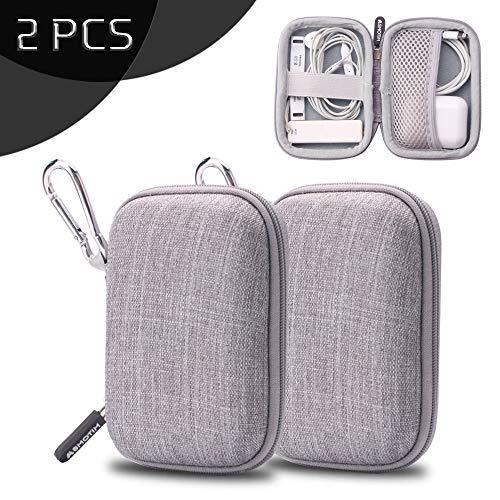 YOLOCE Mini Kopfhörer Tasche mit Schnalle für In Ear Ohrhörer, MP3 Player, iPod Nano, Schlüssel, Lovely Macarons Aussehen (Square-Grau), 2er Pack