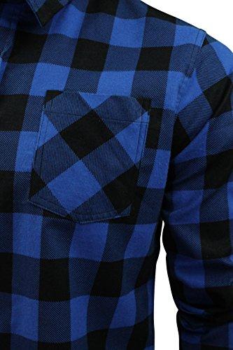 Herren Hemd von Brave Soul gebürstete Baumwolle, kariert, langärmlig Blau/Schwarz