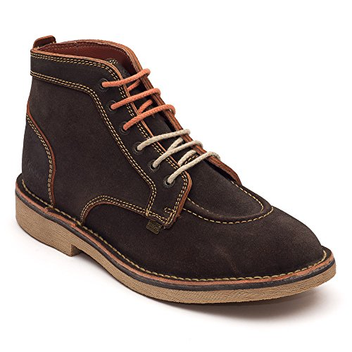 Kickers Kick Legendry Mens Dark Brown/Orange, Suede lace up boot Dark Brown/Orange
