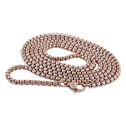 Akitsune Baca Kette 90cm | 3mm breit | Halskette Frauen Herren Box Rolo Edelstahl Karabiner Minimalist Herrenhalskette - Rosegold