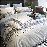 XMDNYE Pure Color 60 Tencel Baumwolle Und Hanf Vier Sätze Bestickte Nackte Schlafende Bettwäsche 1,8 M, Sechs Weiße Sets, 1,8 M Großes Bett