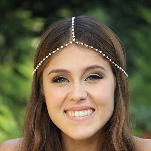 handmadejewelrylady Kopf Kette Frauen Fashion Metall Strass Schmuck Haarband mit Haar Band