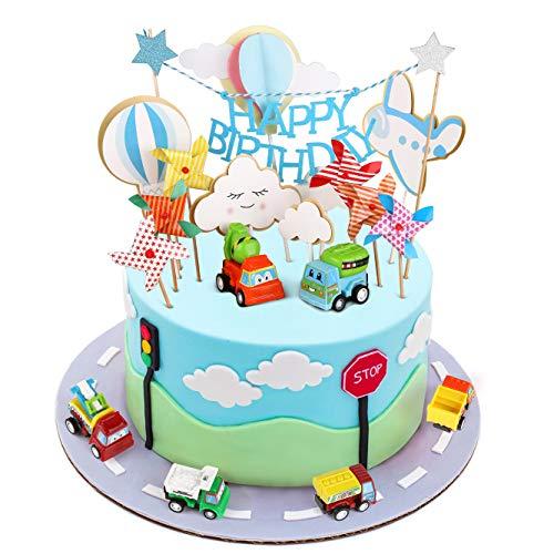 Joyoldelf Cake Toppers 1. Geburtstag Junge Auto Kuchendekoration Spielzeug Tortendekoration Einhorn Junge Geburtstag Dekoration Junge Geburtstagsgeschenk 1-5 Jahre alt
