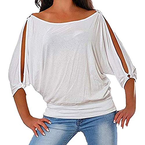 Damen Off Shoulder Tops MEIbax Damen Schulterfreie Bluse Kurzarm Freizeit Weiß Lose Hemd Damenbekleidung Sale OberteileDamen Baumwolle Leinen T Shirt -
