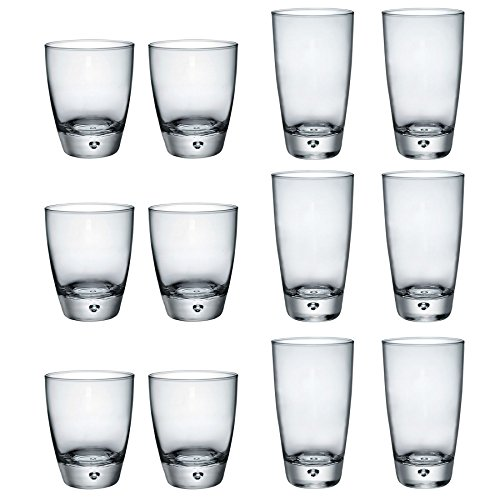 Double Old Fashioned, Scotch-gläser (Bormioli Rocco Luna klare Kuppel Basiskühler Gläser & Double Old Fashioned Tumblers - Satz von 12)