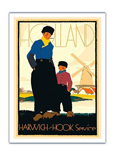 Pacifica Island Art - Holland - Bahnservice von Harwich in die Niederlande - London & Nord-Ost-Eisenbahn - Reise Poster von Austin Cooper c.1920s - Premium 290gsm Giclée Kunstdruck - 30.5cm x 41cm