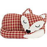CURLED UP FOX GINGHAM RED BEIGE WHITE BLACK 1.4 KG DOORSTOP WEDGE STOPPER